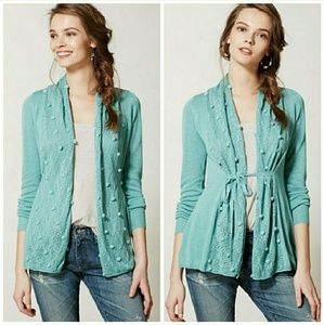 Knitted & Knotted | Teal Kose Pom-Pom Cardigan XS